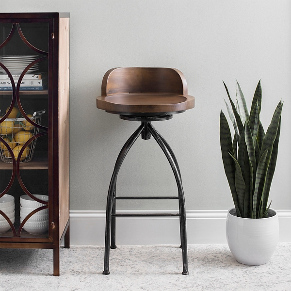 Industrial Molded Seat Wood and Metal Bar Stool
