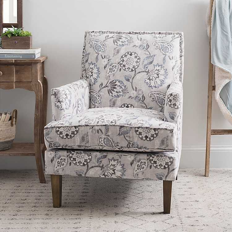 Cream and Blue Floral Square Back Accent Chair