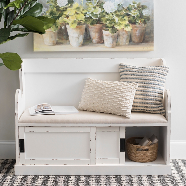 Fantastic White Storage Pew Bench With Fabric Cushion Kirklands Gmtry Best Dining Table And Chair Ideas Images Gmtryco