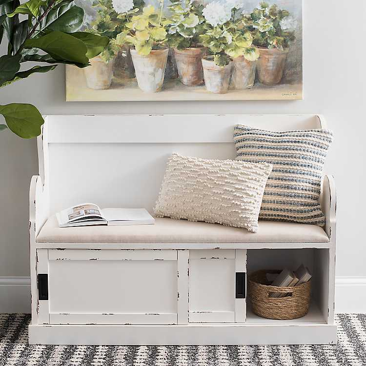 Marvelous White Storage Pew Bench With Fabric Cushion Caraccident5 Cool Chair Designs And Ideas Caraccident5Info