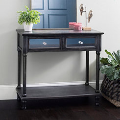 Washed Black Console Table With Mirrored Drawers