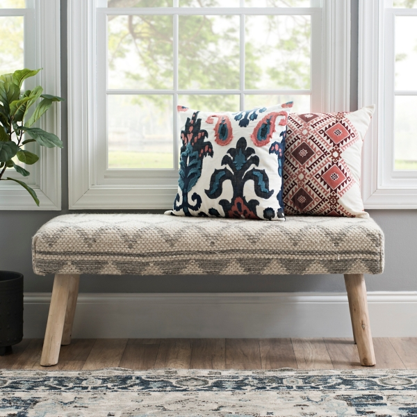 Textured Gray and White Bench