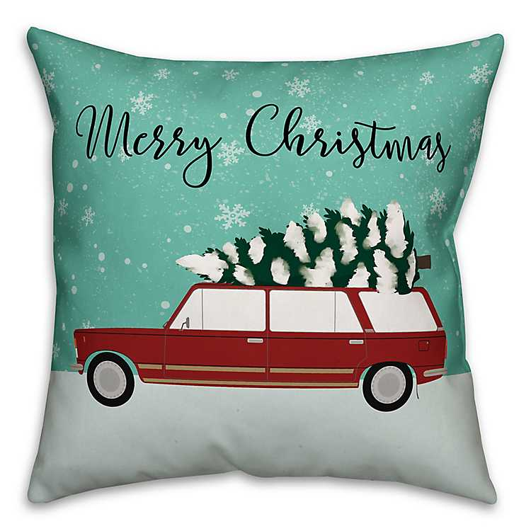 red car and tree merry christmas pillow