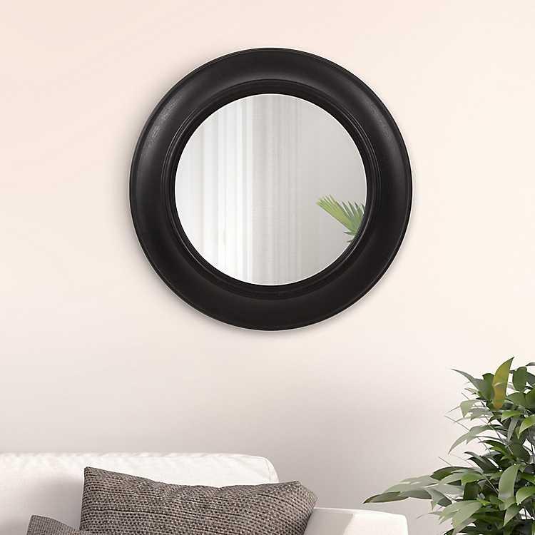 Black Distressed Rustic Round Mirror