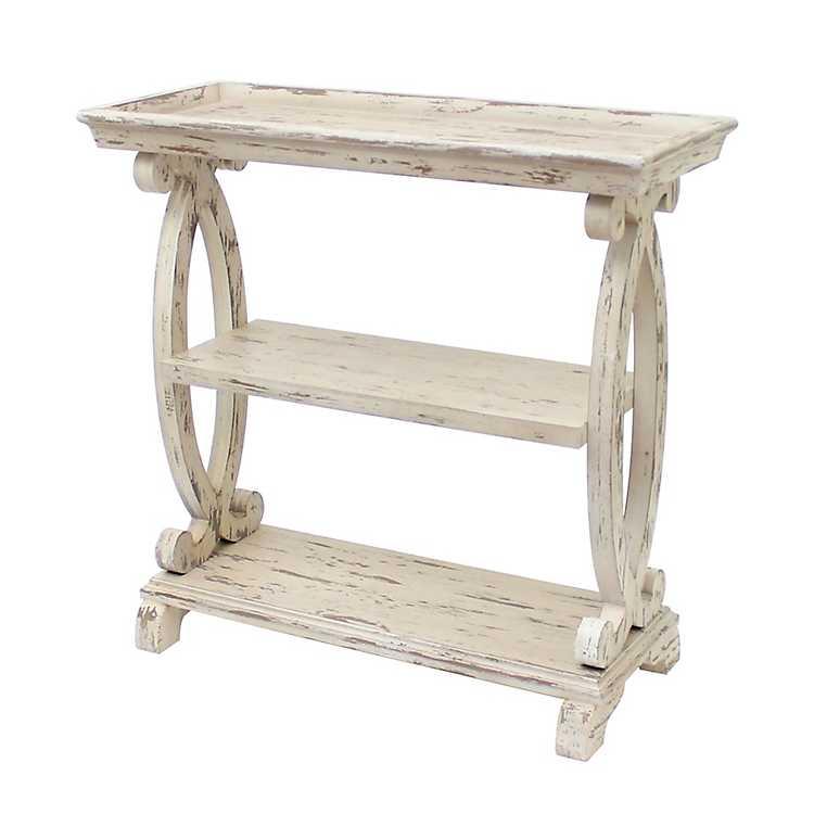 big sale e23e2 35e68 Distressed White Open Shelf Console Table