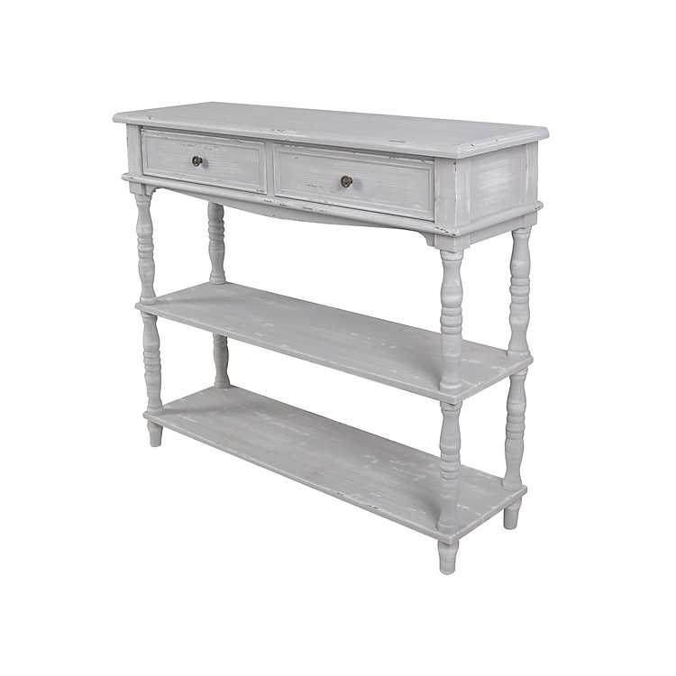 the latest 49ef0 0d8cd Chalk Gray Open Shelf 2-Drawer Console Table