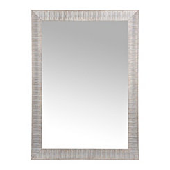 Silver Wave Framed Wall Mirror 24x36 In