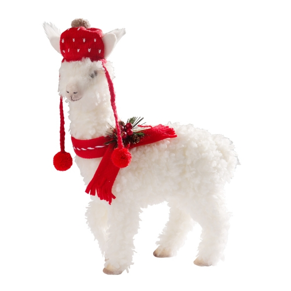 Llama Christmas Decorations.White Fur With Red Hat Llama Statue 16 5 In Kirklands