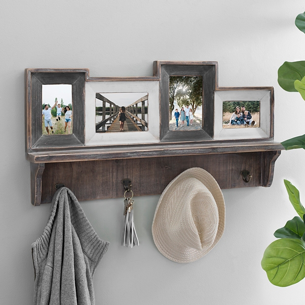 Rustic 4-Opening Collage Frame with Hooks