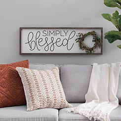 Simply Blessed Wood Wall Plaque With Wreath