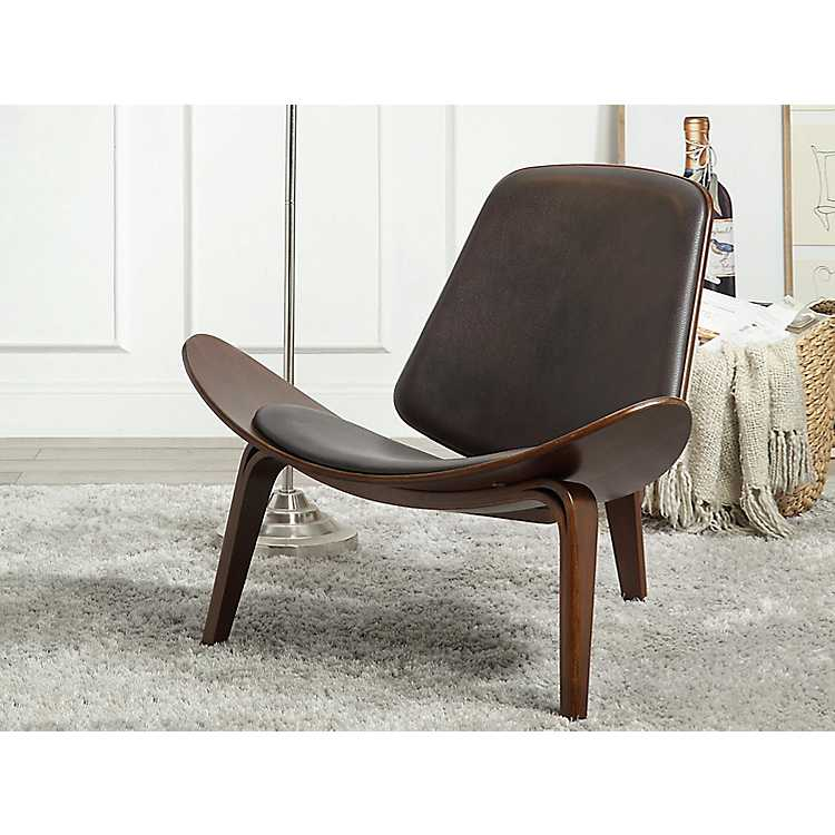 Dark Brown Accent Chairs.Product Details Wagner Shell Dark Brown Accent Chair