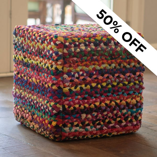 50% Off - Multicolor Pouf - Was $99.99 - Now $50.00
