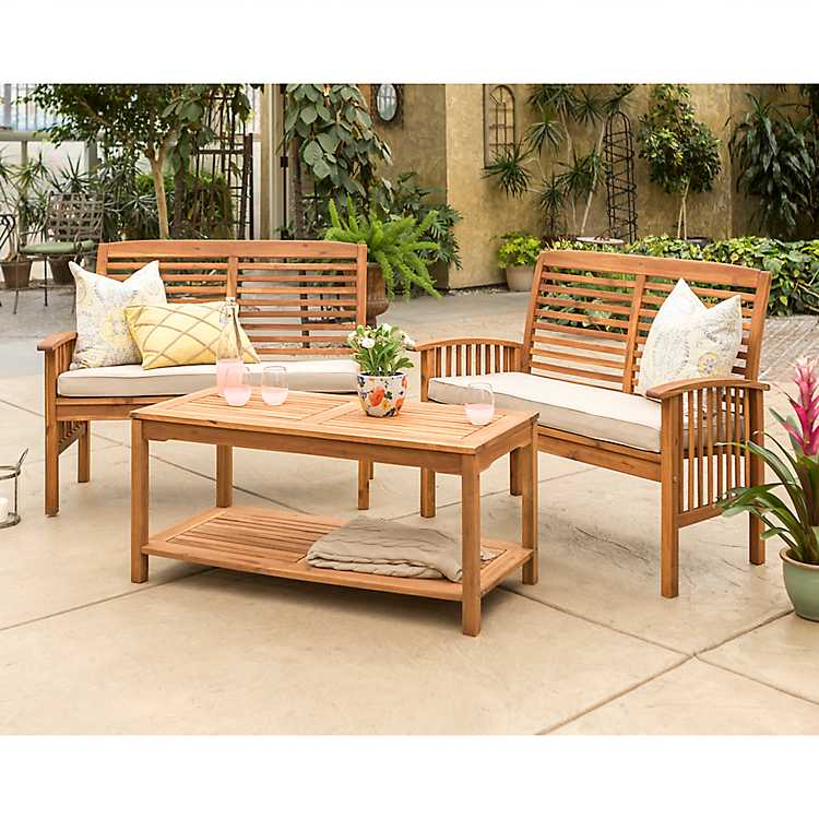 Amazing Brown Acacia Hardwood 3 Pc Conversation Set Unemploymentrelief Wooden Chair Designs For Living Room Unemploymentrelieforg