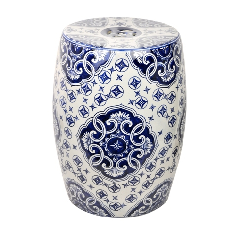 Astonishing White And Blue Ceramic Garden Stool Pabps2019 Chair Design Images Pabps2019Com