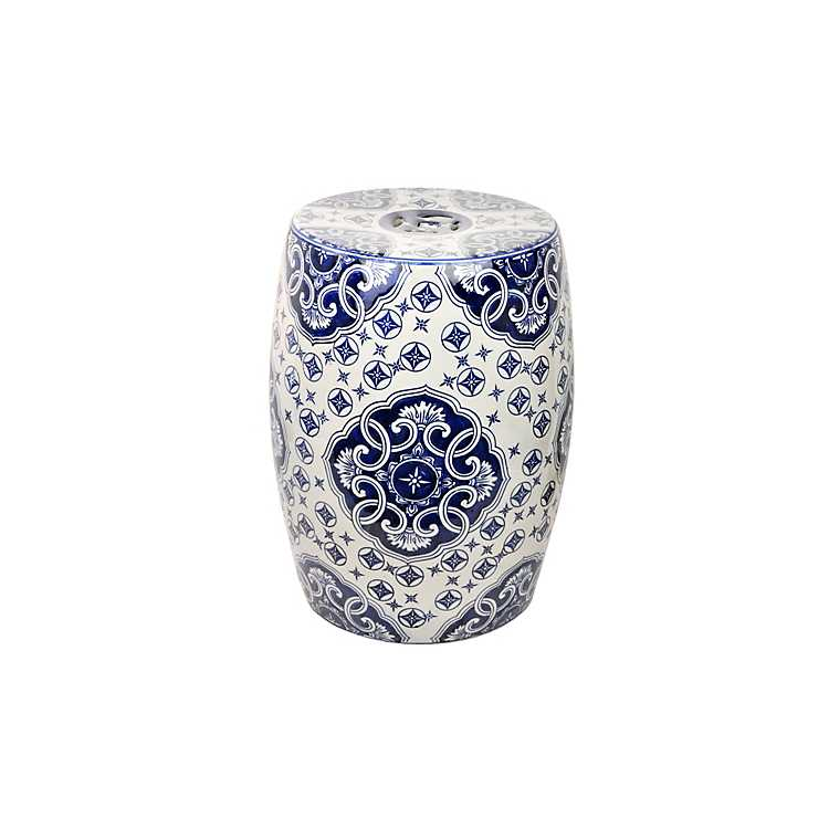 Fantastic White And Blue Ceramic Garden Stool Caraccident5 Cool Chair Designs And Ideas Caraccident5Info
