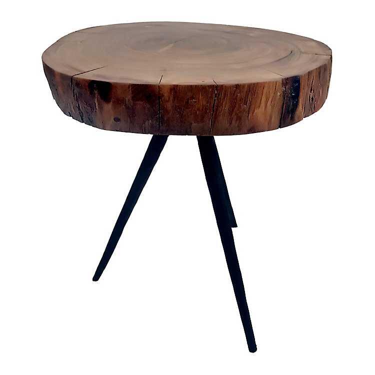 Natural Wood Slab Black Metal Legs Accent Table ...