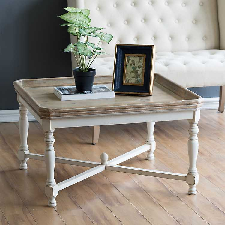 Etonnant Product Details. Natural Top White Base Distressed Coffee Table
