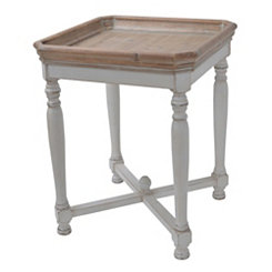 Natural Top White Base Distressed Accent Table