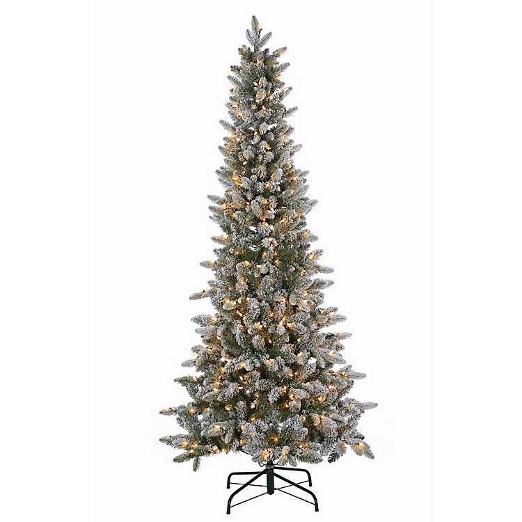 6.5 ft. Pre-Lit Flocked Canyon Fir Christmas Tree | Kirklands