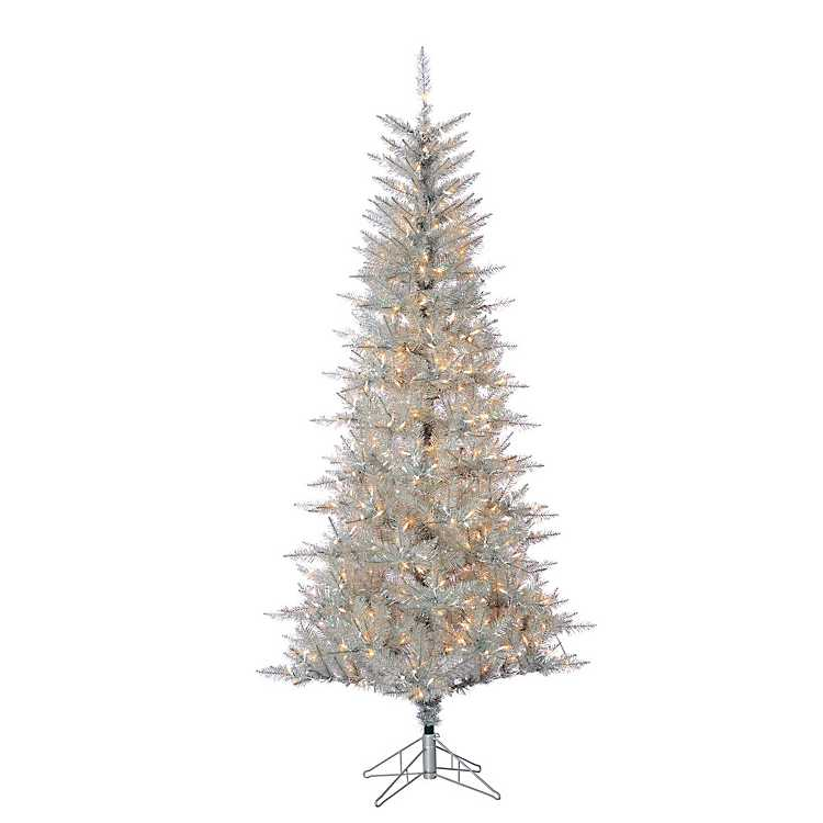 silver tinsel pre lit christmas tree - Silver Tinsel Christmas Tree