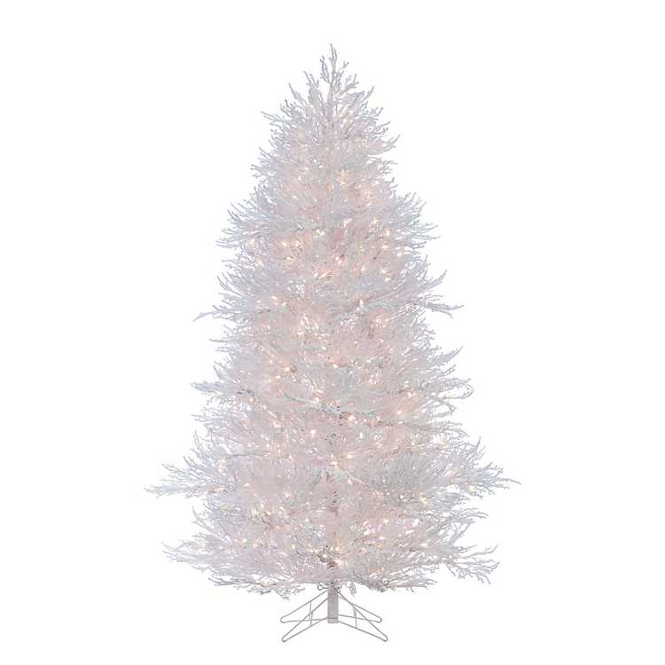 7 ft. Pre-Lit Flocked White Christmas Tree | Kirklands