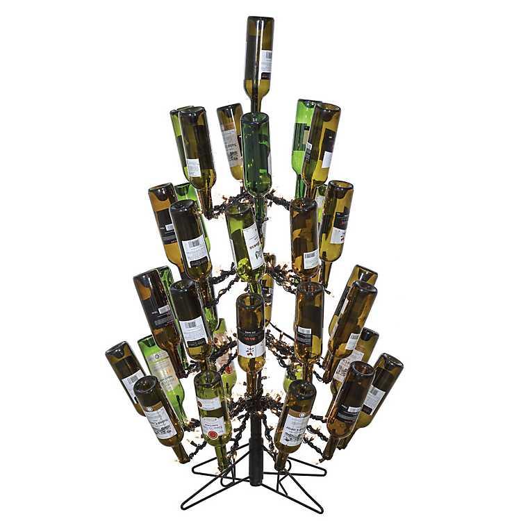 Wine Bottle Christmas Tree Rack.4 Ft Pre Lit Wine Bottle Holder Christmas Tree