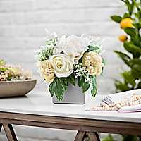 White Mixed Floral Arrangement in Cement Pot