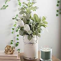 White Tulips in Milk Bucket Arrangement