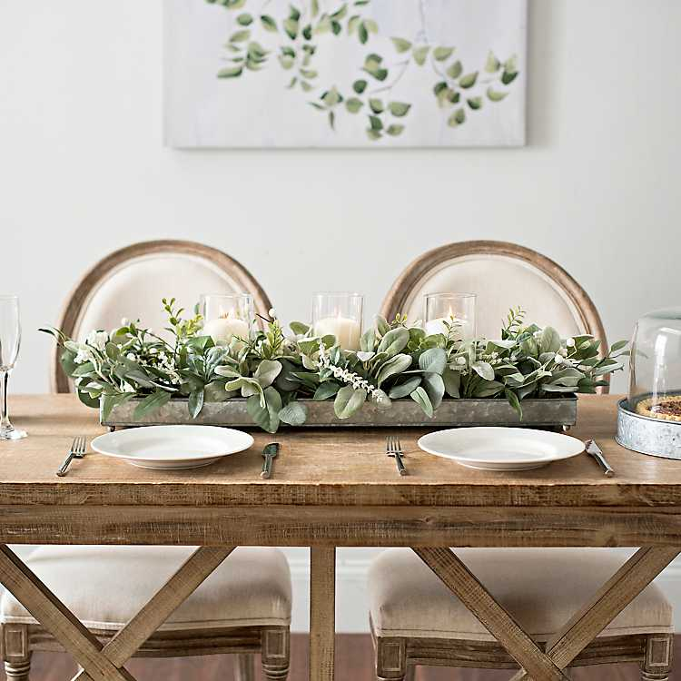Eucalyptus Centerpiece Centerpiece Farmhouse Table Decor Farmhouse Decor Planter Box Floral Arrangement Greenery Eucalyptus Home Decor Decor Kitchen Dining Kitchen Dining Home Living