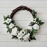 Half White Peony and Poppy Wreath