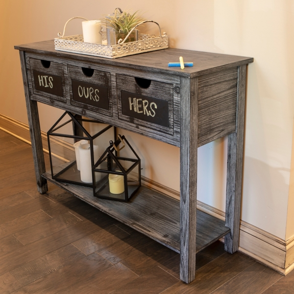 Weathered 3 Drawer Chalkboard Console Table