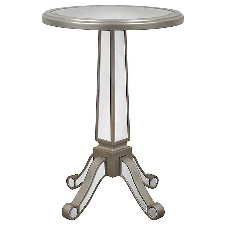 Mirrored Pedestal Accent Table ...
