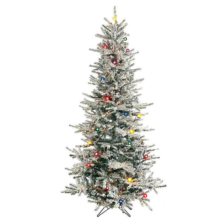 9 ft slim flocked vail pine christmas tree