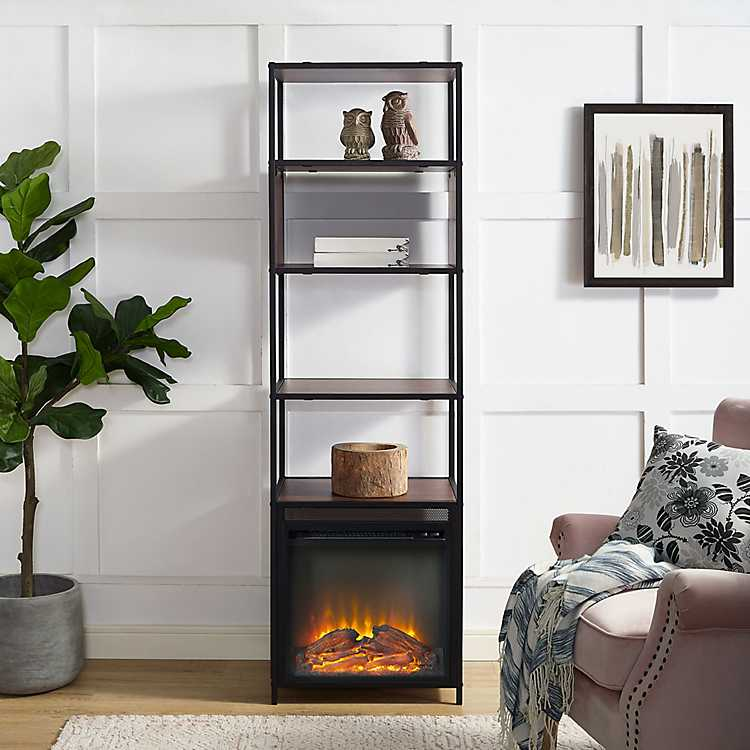 dark walnut electric fireplace bookshelf tower kirklands rh kirklands com electric fireplace shelves dimplex electric fireplace bookcase