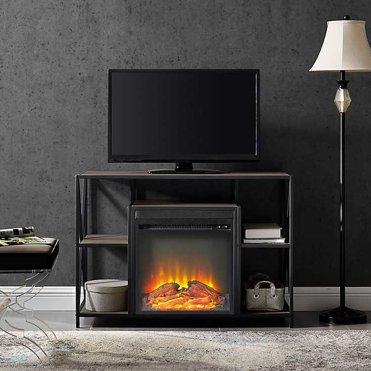 Product Wash Industrial Details Electric Gray Console Fireplace MzpqVSU