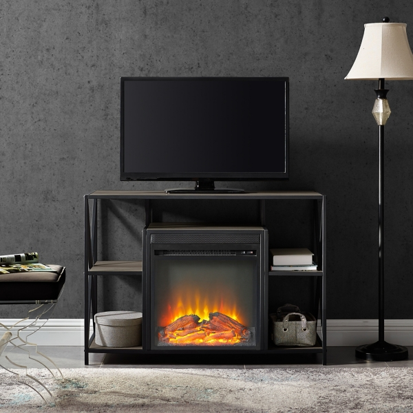 Gray Wash Industrial Electric Fireplace Console