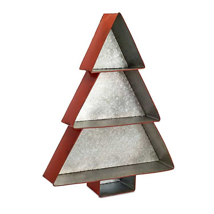 red metal christmas tree shelf