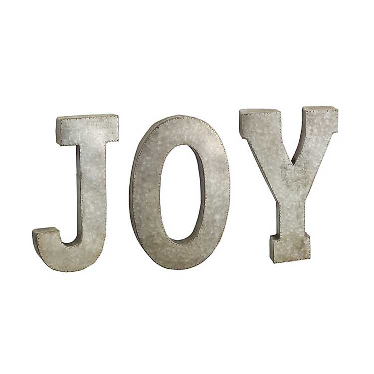 Galvanized Metal Joy Christmas Sign | Kirklands