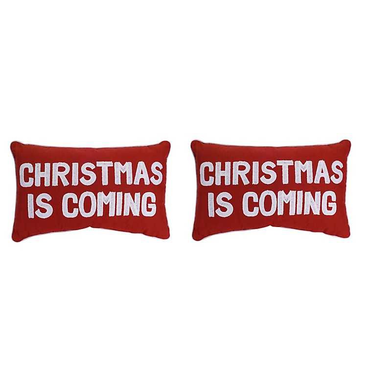 red christmas is coming accent pillows