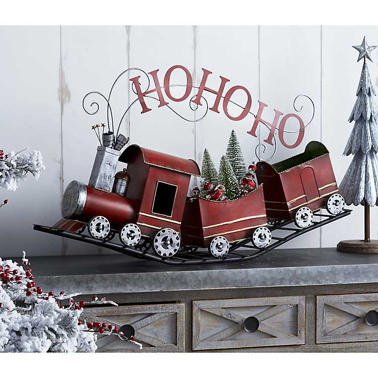 Christmas Train.Metal Ho Ho Ho Christmas Train Statue