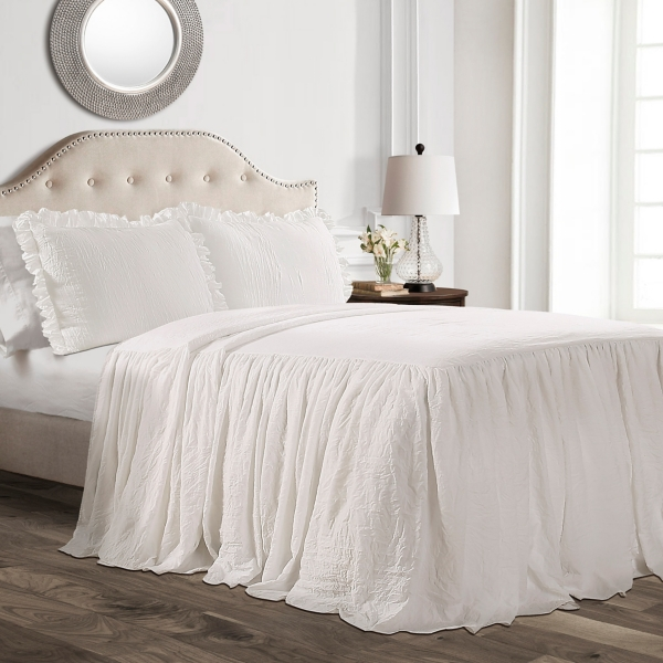White Ruffle Skirt 2-Piece Twin Comforter Set