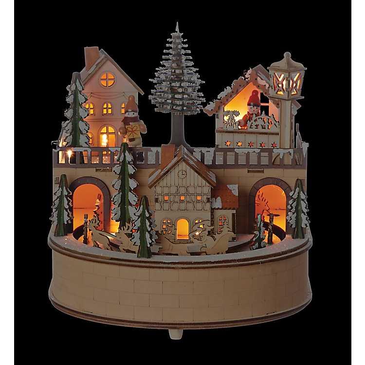 Laser Cut LED Wooden Village Christmas Music Box | Kirklands