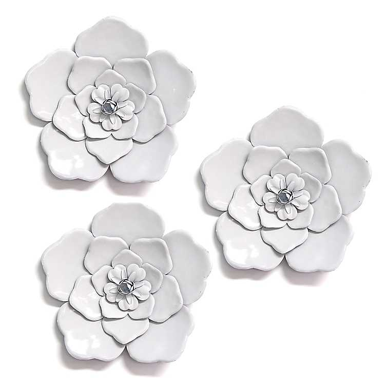 Product Details White Metal Flower Wall Plaques Set Of 3