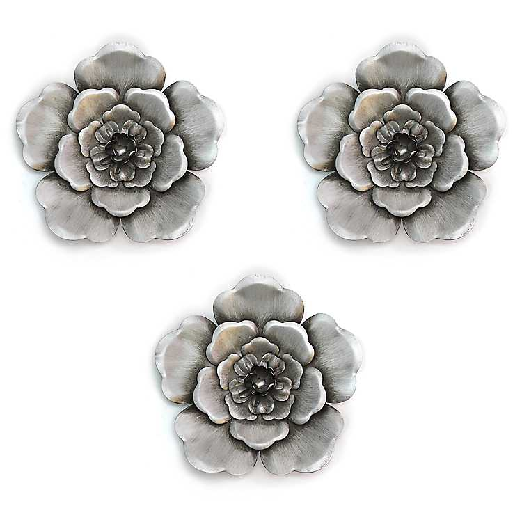 Silver Metal Flower Wall Plaques Set Of 3