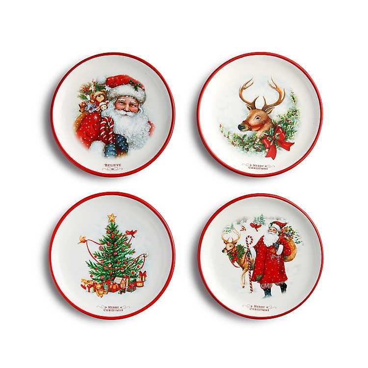 Assorted Christmas Dessert Plates Set Of 4 Kirklands