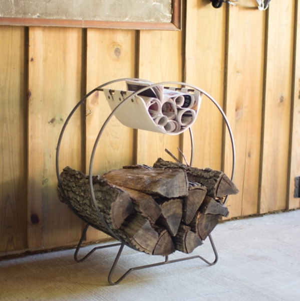 Round Log Holder with Canvas Kindling Sling