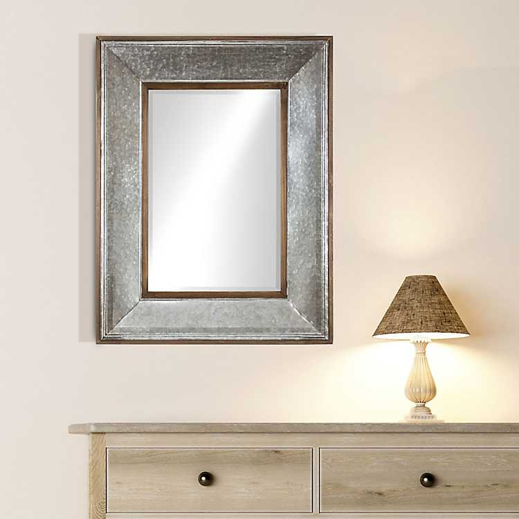 Rustic Wood And Galvanized Metal Framed Mirror