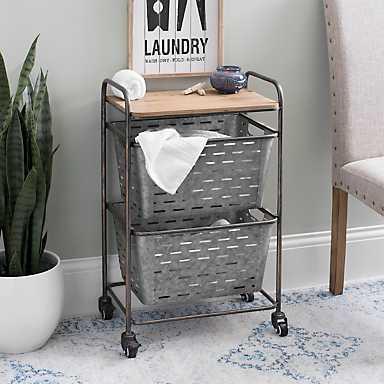 Wood Top 2-Basket Rolling Cart