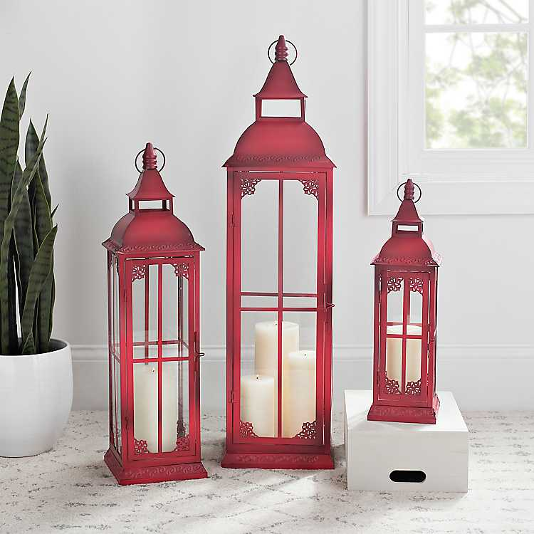 Vintage Red Metal Lanterns Set Of 3