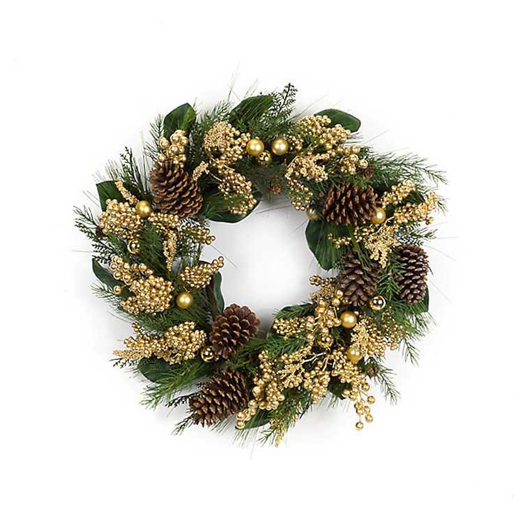Pine and Gold Berry Christmas Wreath   Kirklands
